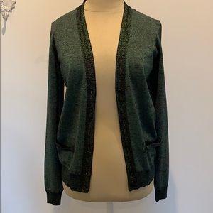 YSL Saint Laurent Metallic Woven Cardigan size S